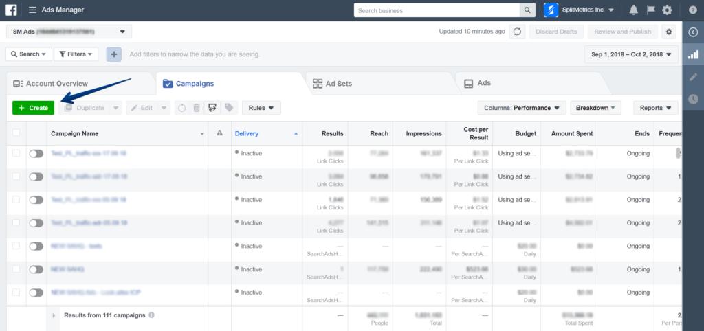 facebook ads manager home screen screenshot